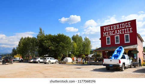 POLEBRIDGE, MONTANA, USA - September 9, 2018: Tourists visit the small ghost town of Polebridge outside the entrance of Glacier National Park