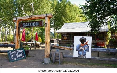 POLEBRIDGE, MONTANA, USA - September 9, 2018: Exterior of the historical landmark Northern Lights Saloon