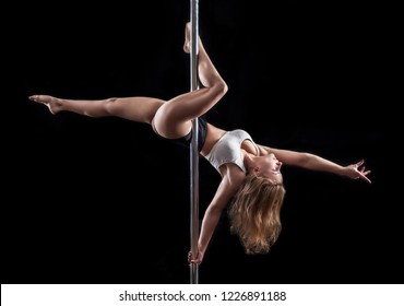 Poledancer on a black background