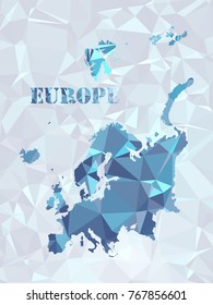 Polegon Europ map. Geometric color in color in the shapes below to make a pattern.Lines, points, circles and planes. Futuristic design..All elements are separated Abstract linear polygonal.