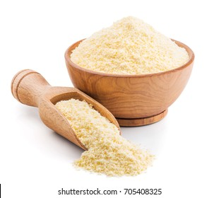 Polenta or corn flour isolated on white
