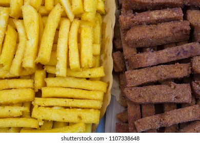 polenta and fried potato croquettes