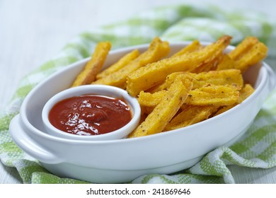 Polenta fries with herbs and tomato sauce