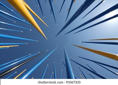 Poles aiming for the sky in an abstract arrangement.