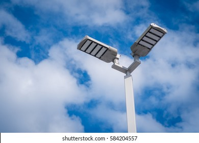 Poles led. Street light against the blue sky with clouds. copy space.