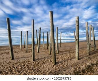 Poles on the marina beach in Hjerting in Esbjerg, Denmark