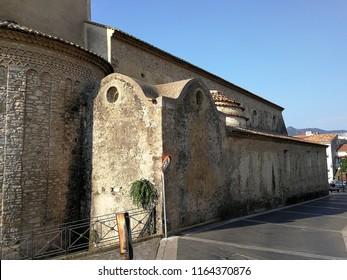 Policastro Bussentino, Salerno, Campania, Italy - August 3, 2018: Exterior of the Cathedral of Santa Maria Assunta