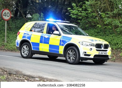 Police 4x4 escort vehicle during the Tour de Yorkshire : Cote de Baggaby Hill, Warter, East Yorkshire, UK : 3 May 2018 : Pic Mick Atkins