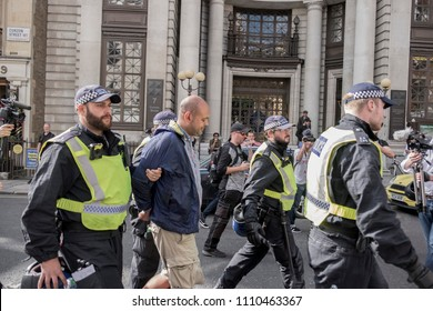 Police arrest a drunken protester during the Al Quds Day rally, London, 10/06/18.