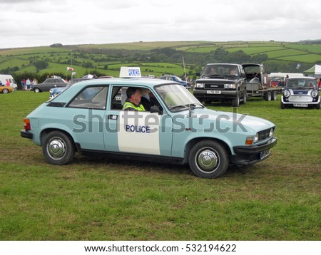 A Police Austin Allegro At A Classic Car Show In West Wales During The Summer Of