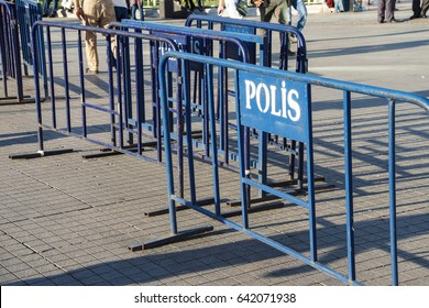 Police barriers stored in Taksim Square in anticipation of demonstrations,  in Istanbul, Turkey