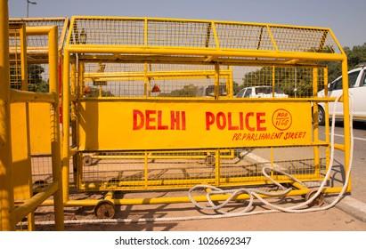 police blockade in Delhi government district