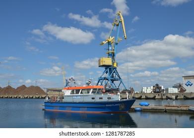 police boat in wismar, mecklenburg western pomerania,germany,april-30-2017