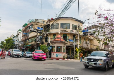 Police booth, Old town area in Bangkok, Thailand on June 13, 2015 at noon.