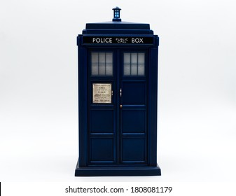 Police call box in front of white background. Tardis from Doctor Who.