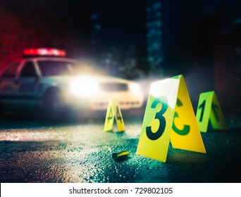 police car at a crime scene with evidence markers / high contrast image