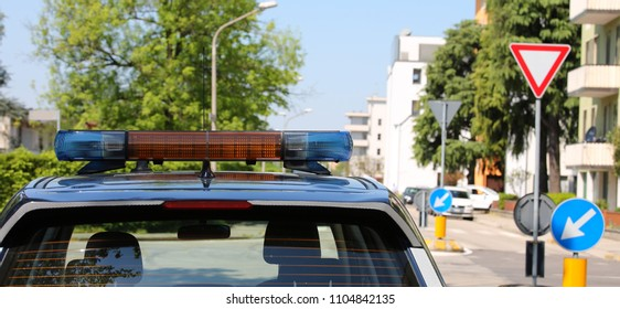Police car during patrol service for patrolling city streets