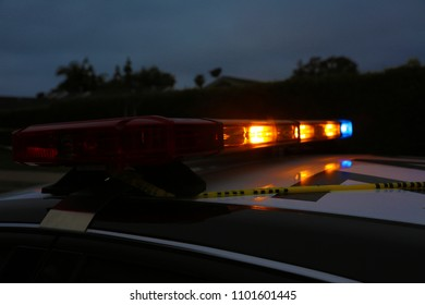 Police Car Light Bar. Light Bar on a police car flashing red and blue in an emergency