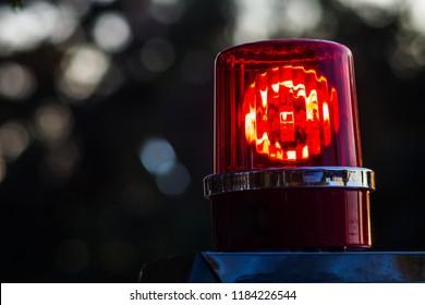 Police car lights close up.