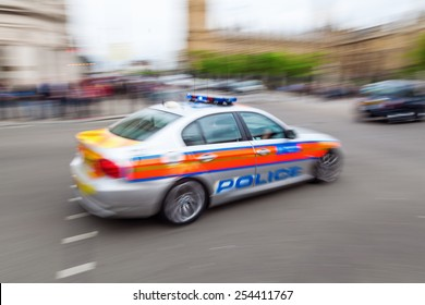 police car in London in motion blur