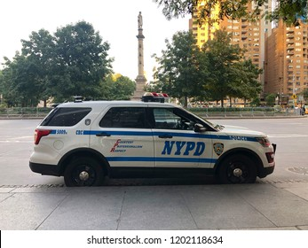 Police car of the New York City Police Department (NYPD) on the streets of Manhattan. NYPD patrol car in the street of Manhattan, New York City, USA 10/02/2018