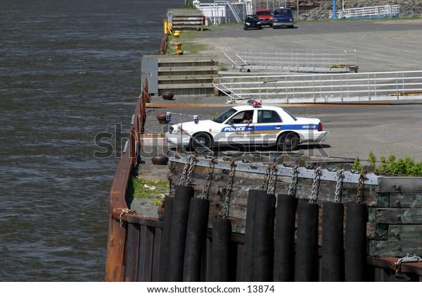 police car on wharf