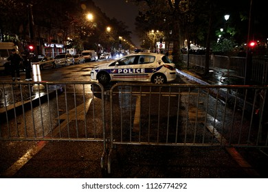 A Police car  outside the Bataclan concert hall during a rally commemorating the 1st anniversary of the Paris terrorist attacks in Paris, France on Nov. 13, 2016