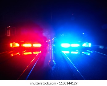 police car POV on top lights on in pursuit