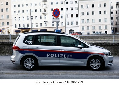 A police car is seen outside of police station in Salzburg, Austria on Sep. 22, 2018