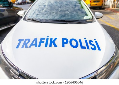 Police car from the turkish police Trafik Polisi stands on a street