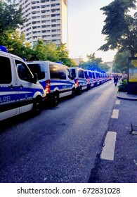 Police cars lined up at the G20 summit in Hamburg 6 June 2017