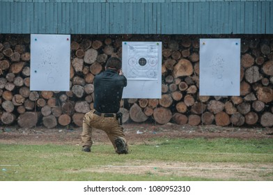 Police commando  operations practicing in fire pistol shooting.