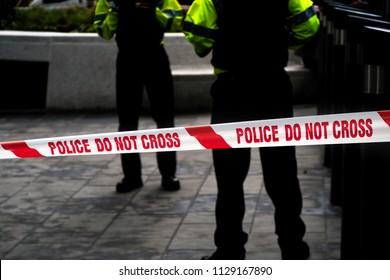 Police cordon tape in London, England