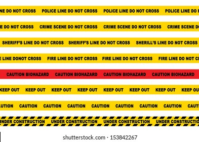 Police / Crime Scene / Fire / Sheriff / Danger / Caution / Biohazard / Keep Out lines
