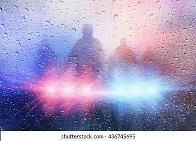 Police crime scene, rain background with police lights