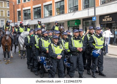Police deploy to protect the Al Quds Day rally, London, 10/06/18.