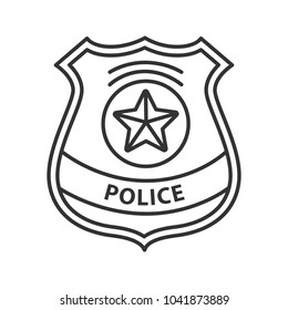 Police detective badge linear icon. Enforcement supply. Thin line illustration. Contour symbol. Raster isolated outline drawing