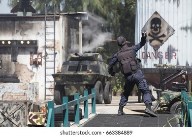 Police detonated an armored vehicle with a bomb.