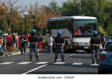 police during a football match in italy
