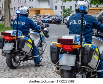 Police escort motorcycles in Germany