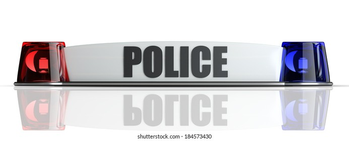 police flasher isolated on white background. High resolution 3d
