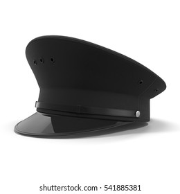 police flat cap isolated on white. 3D illustration