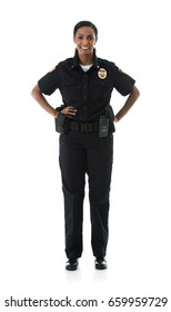 Police: Friendly Female Officer Looking At Camera