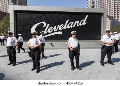 Police in front of Cleveland Sign at Republican National Convention / Police in front of Cleveland Sign at Republican National Convention /  Cleveland OH, USA - July 19, 2016: