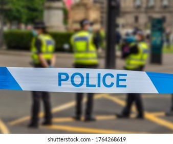 Police In Glasgow During An Incident Near George Square