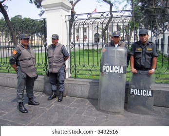 Police in Lima, Peru, outside the congress building.