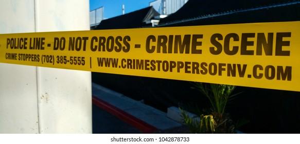 Police Line - Crime Scene - Do not cross - LAS VEGAS / NEVADA - OCTOBER 20, 2017