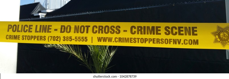 Police Line - Crime Scene - Do not cross - LAS VEGAS / NEVADA - OCTOBER 20, 2017