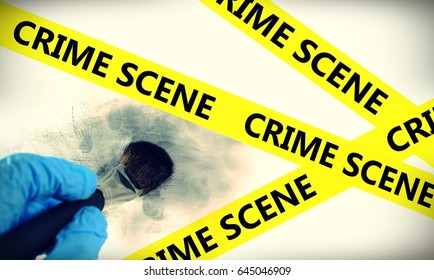 police line in crime scene and latent fingerprint searching by forensic hand in crime scene investigation