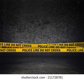 Police Line Do Not Cross Yellow Headband Tape. Murder Scene Police Ribbon.